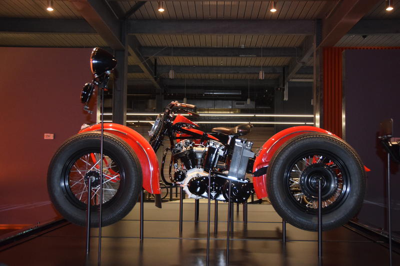 "A view of the ""exploded"" motorcycle that makes it appear as a complete bike."