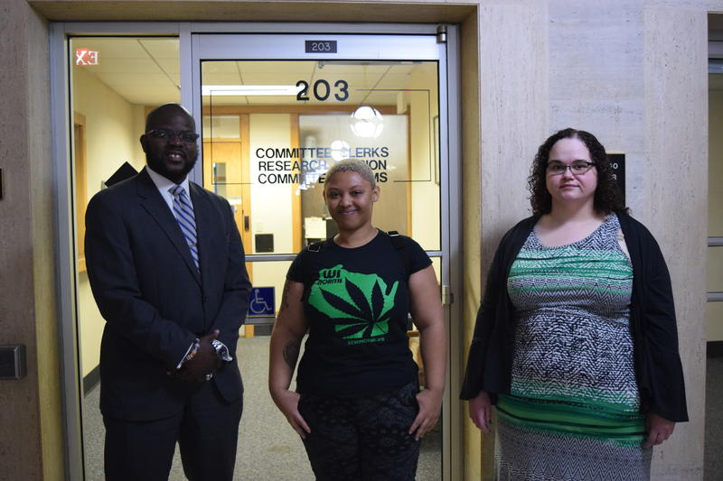 (L to R) County Supervisor Supreme Moore Omokunde, Jaz Morgan and Rachael Steidl who showed up in support of the marijuana legalization advisory referendum being on the ballot