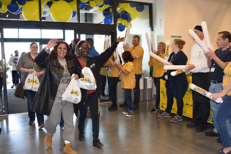 Georgia McKinney of Cudahy and Doris Day of Oconomowoc enter the Oak Creek IKEA on Wednesday morning May 16, 2018
