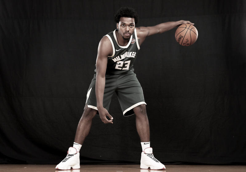 Sterling Brown of the Milwaukee Bucks poses for a portrait during the 2017 NBA Rookie Photo Shoot at MSG Training Center on August 11, 2017 in Greenburgh, New York.