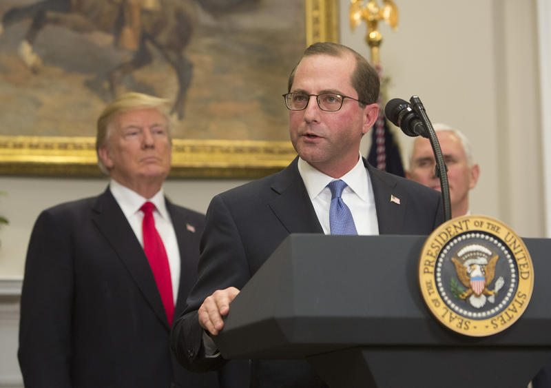 WASHINGTON, DC - JANUARY 29: (AFP-OUT) Alex Azar, new Secretary of the Department of Health and Human Services, speaks after being sworn in as President Donald J. Trump looks on January 29, 2018 at The White House in Washington, DC.