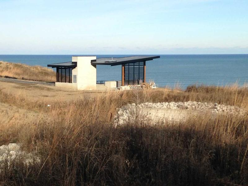 There was still snow on the ground in April when this photo was taken.  Here's one of two picnic shelters overlooking Lake Michigan.