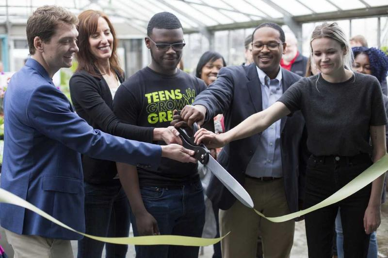 Teens Grow Greens celebrated move into Weber Greenhouses Friday left to right - Charlie Uihlein, Jill Compton, Edward Rodgers, Ashanti Hamilton & Claire Muza