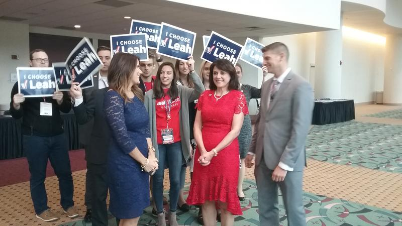 Leah Vukmir is surrounded by well wishers following the endorsement