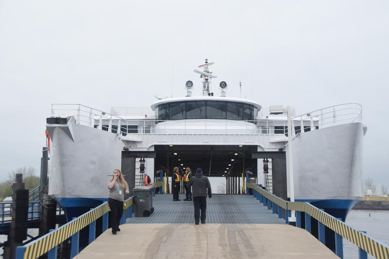 Workers prepare the Lake Express for her journey across Lake Michigan.