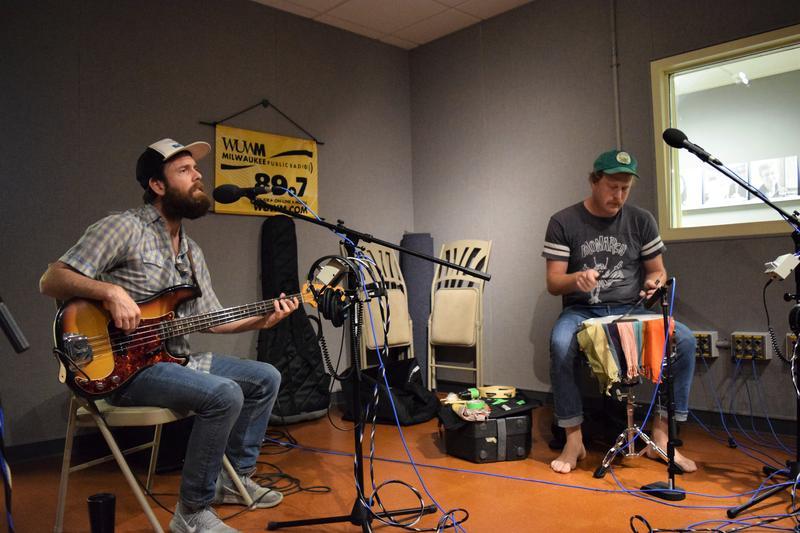 Bassist PJ George and drummer Jeff Wilson in studio.