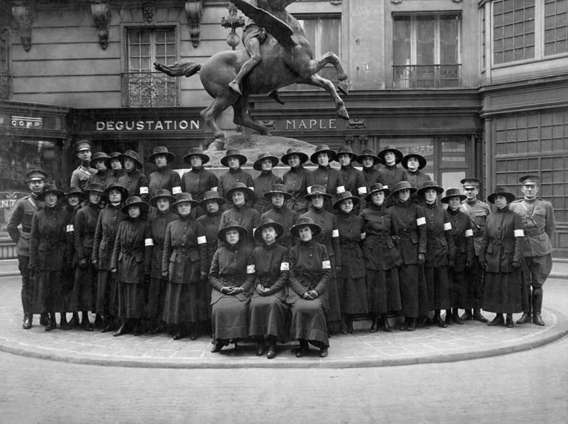 "American telephone girls on arrival for ""hello"" duty in France. They all can speak both English and French. March 1918."