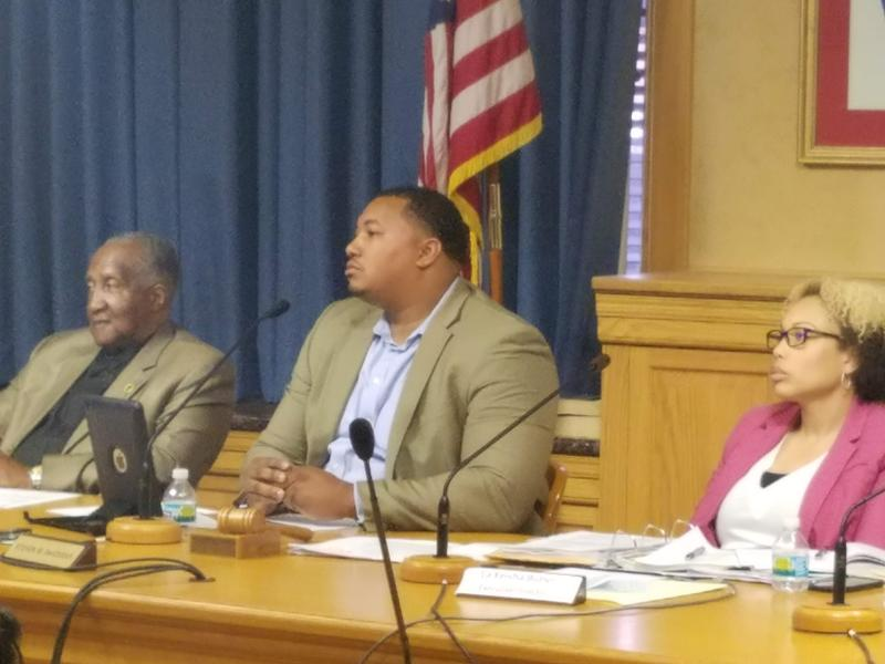 (L to R) Commissioner Dr. Fred Crouther, Chair Steven DeVougas and Executive Director La Keisha Butler listen to public comment at the Fire and Police Commission meeting Thursday June 7, 2018.