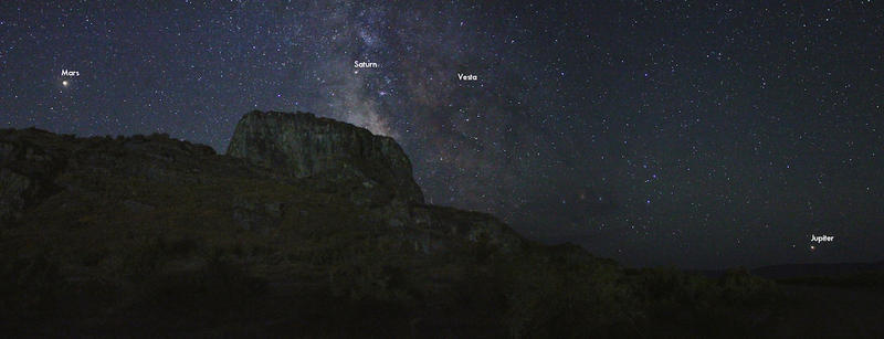 Part of our solar system, along with other stars of the Milky Way galaxy, as seen over Lone Rock in Skull Valley, Utah.