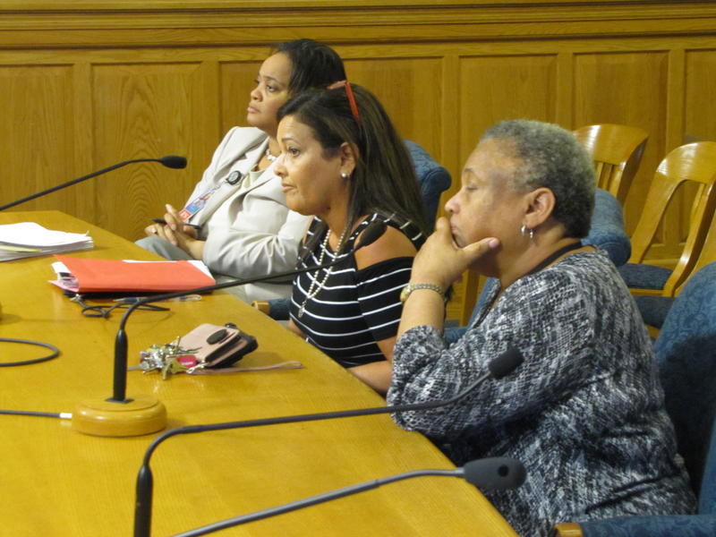 Left to right: Health Department Head of Nursing Tiffany Barta, the city's Employee Relations Director Maria Monteagudo and Interim Health Commissioner Dr. Patricia McManus testified at Thursday's Steering & Rules Committee meeting.