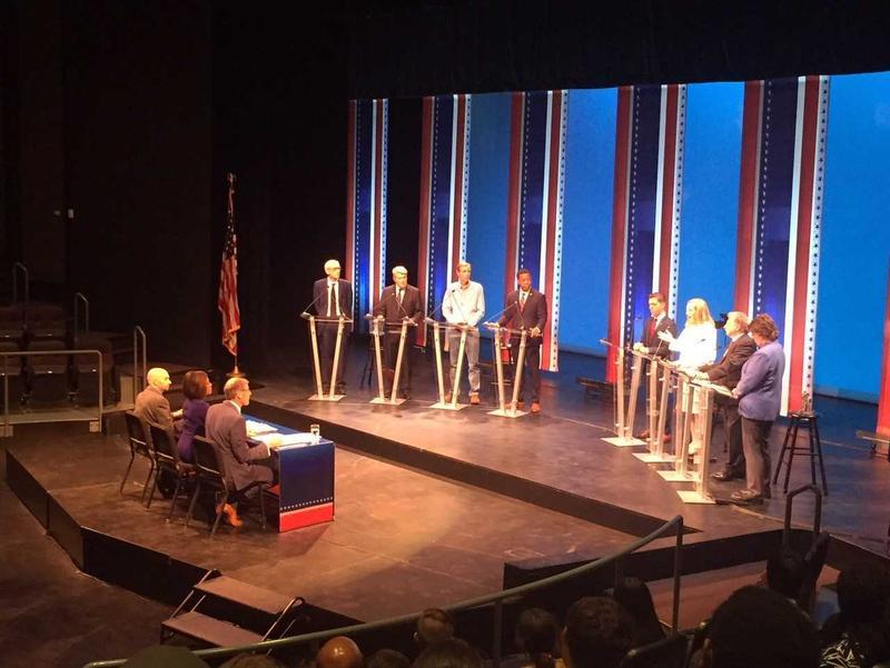 Democratic gubernatorial candidates (from left) Tony Evers, Matt Flynn, Mike McCabe, Mahlon Mitchell, Josh Pade, Kelda Roys, Paul Soglin and Kathleen Vinehout