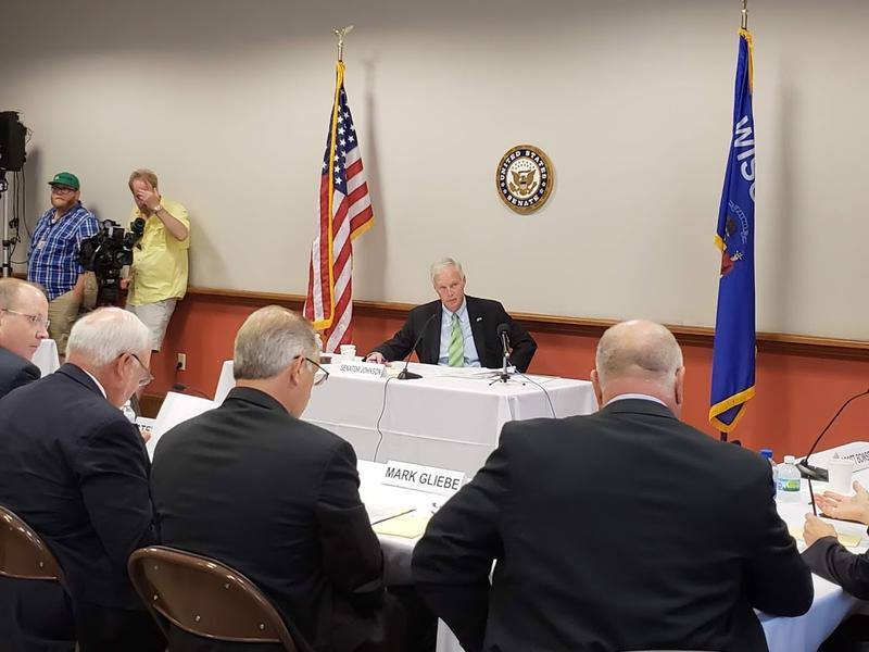 Sen. Ron Johnson listens to Wisconsin business executives about their plight with tariffs.