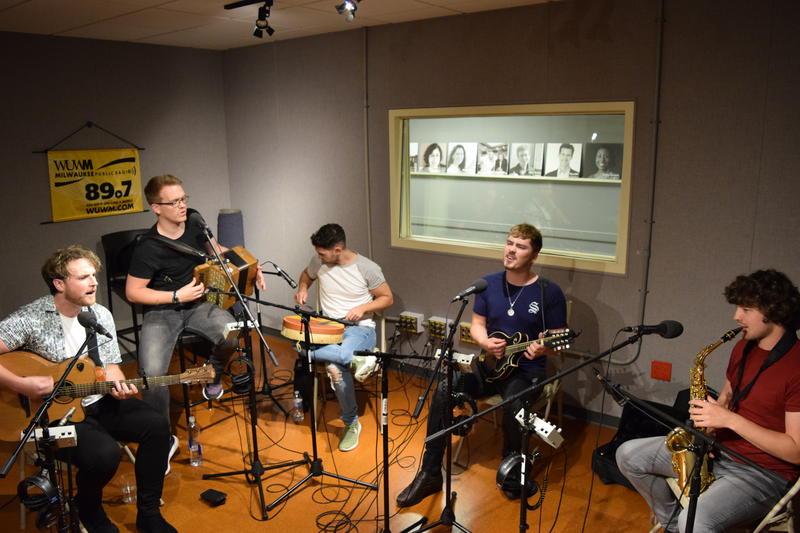 Left to right: Stiofán Ó Fearail, Kevin Shortall, Callum, Keith Ó Briain, and Daithí Ó Ruaidh of Seo Linn in Lake Effect's performance studio.