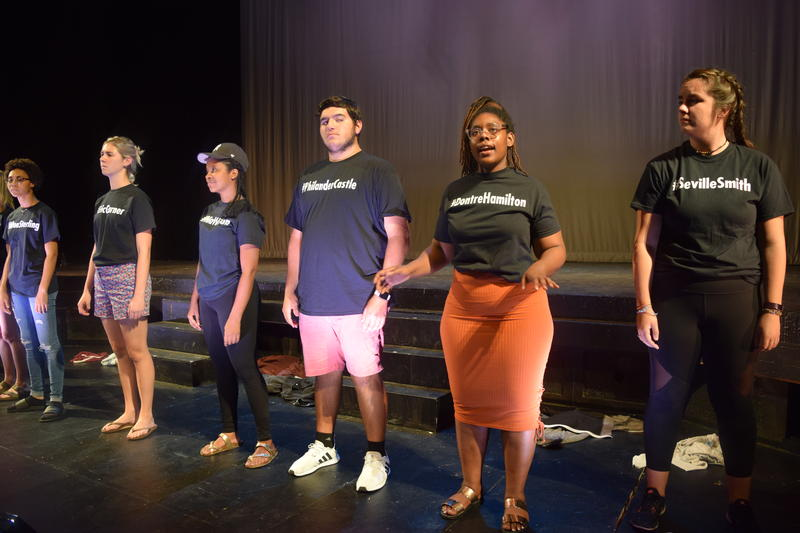 "Near the end of the play, ""White Privilege,"" the actors reveal shirts depicting the names of black people killed by police or hate crimes."