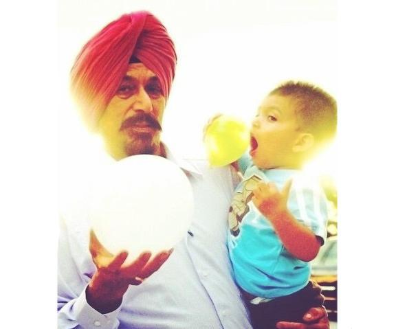Satwant Singh Kaleka and his grandson Jai.