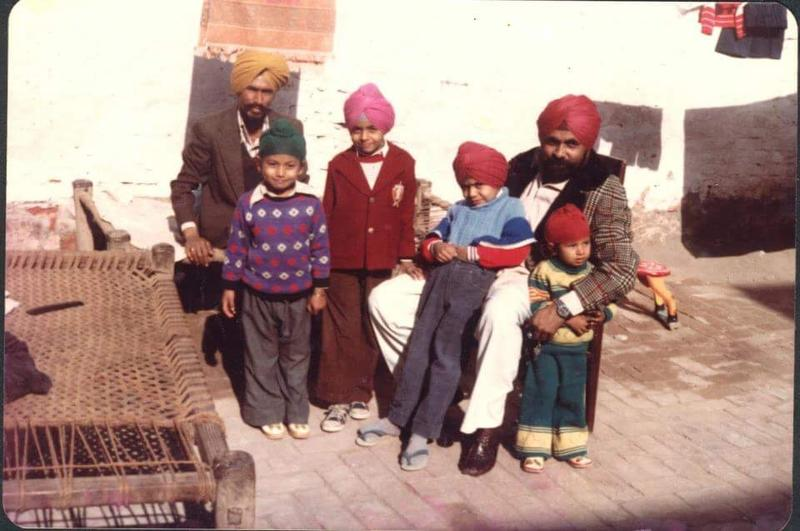 Pardeep Kaleka (in purple sweater) with his father, uncle, and cousins in India before leaving for the United States int in 1981.