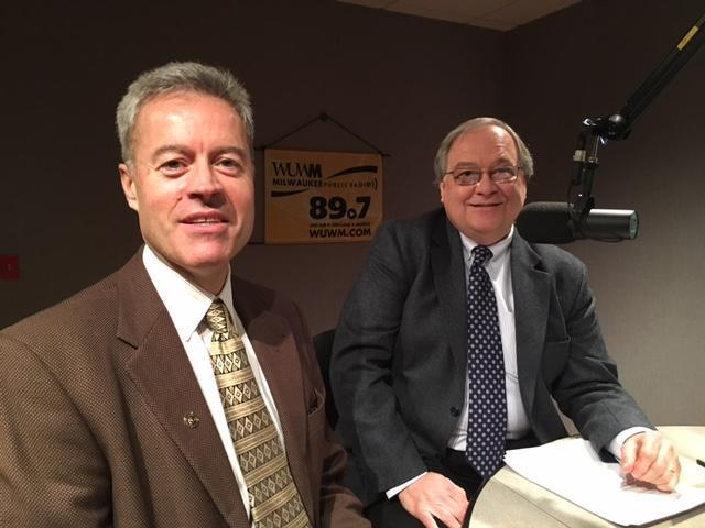 UW-Milwaukee Chancellor Mark Mone (left) and WUWM's Dave Edwards.