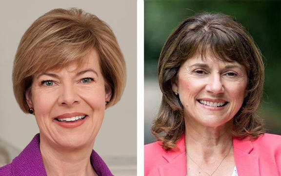"""The campaigns for governor and U.S. Senate in Wisconsin are in """"full-court press"""" mode. (Democratic Sen. Tammy Baldwin and challenger Leah Vukmir shown here.)"""