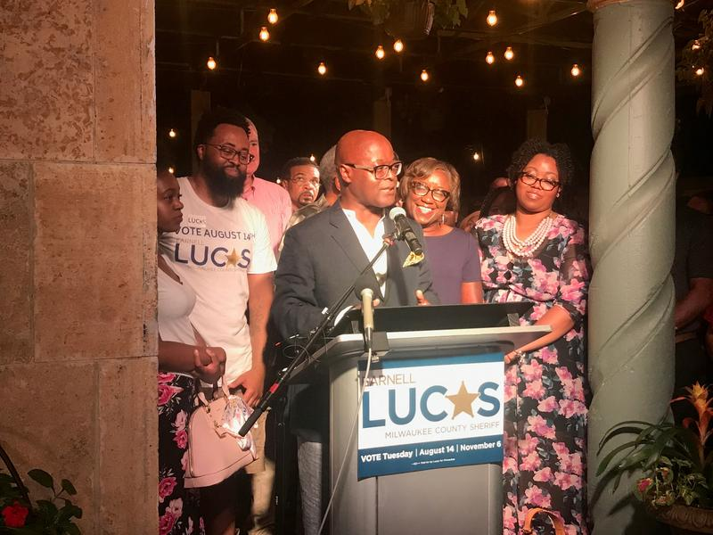 Earnell Lucas speaks to his supporters after he won the Democratic primary vote for Milwaukee County Sheriff.