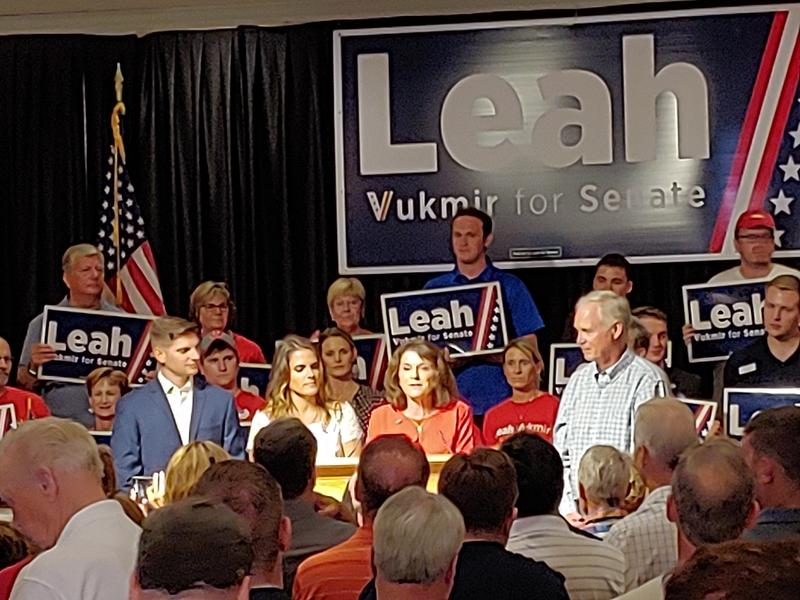 Leah Vukmir speaks to her supporters after winning the Republican primary for Wisconsin U.S. Senate. She will challenge Democratic Sen. Tammy Baldwin in November's general election.