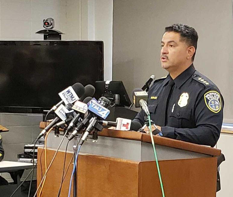 Milwaukee Police Chief Alfonso Morales at a press conference on Monday.
