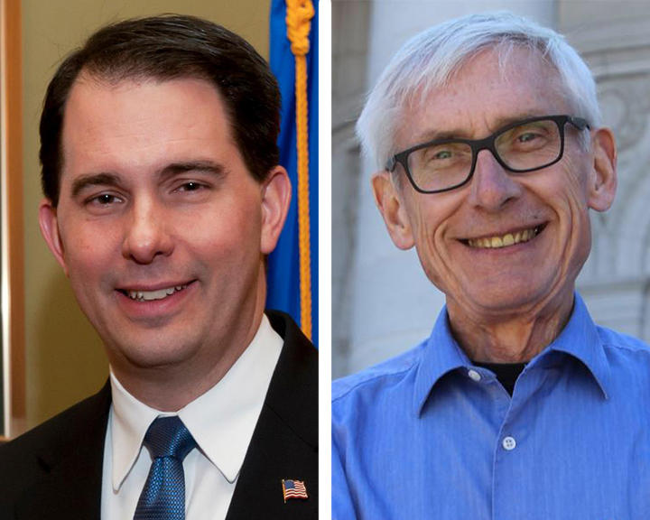 Republican Gov. Scott Walker and Democratic gubernatorial candidate Tony Evers are tied when it comes to preference from likely voters, according to a new poll.
