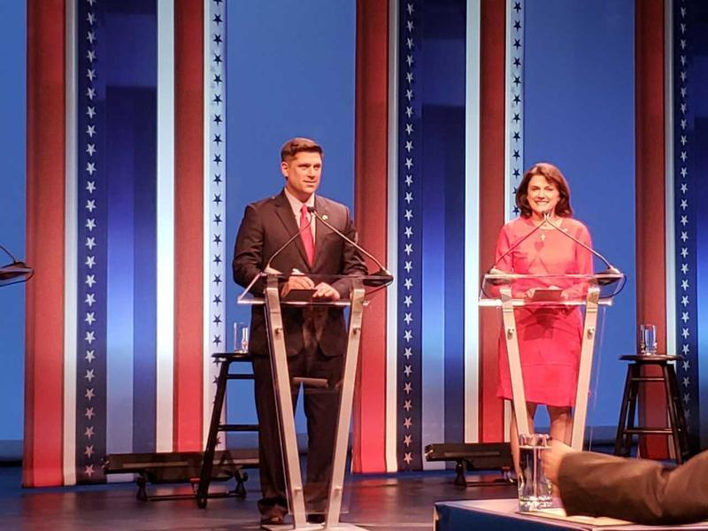 Kevin Nicholson and Leah Vukmir at a debate in July