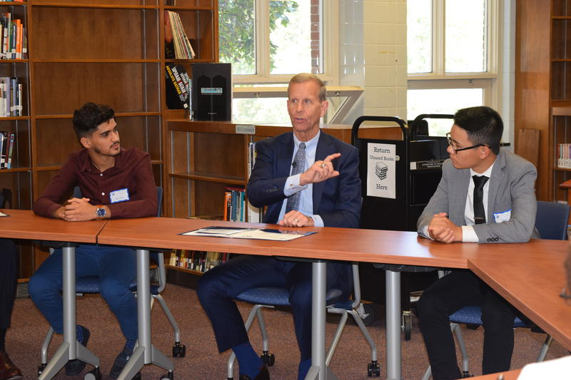 U.S. Department of Education Assistant Secretary Frank Brogan speaks with students at Reagan High School Tuesday, Sept. 11.