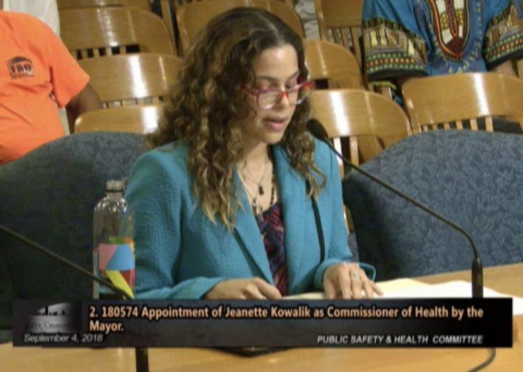 Jeanette Kowalik speaks during Tuesday's Public Safety and Health Committee meeting.
