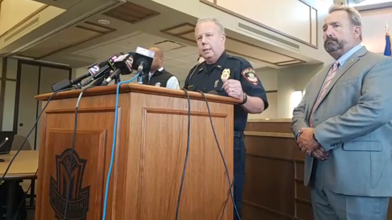 Middleton Police Chief Charles Foulk addresses Wednesday's office shooting during a press conference.