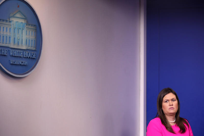 White House Press Secretary Sarah Huckabee Sanders prepares to take the podium during a news conference in the Brady Press Briefing Room at the White House September 10, 2018 in Washington, DC.