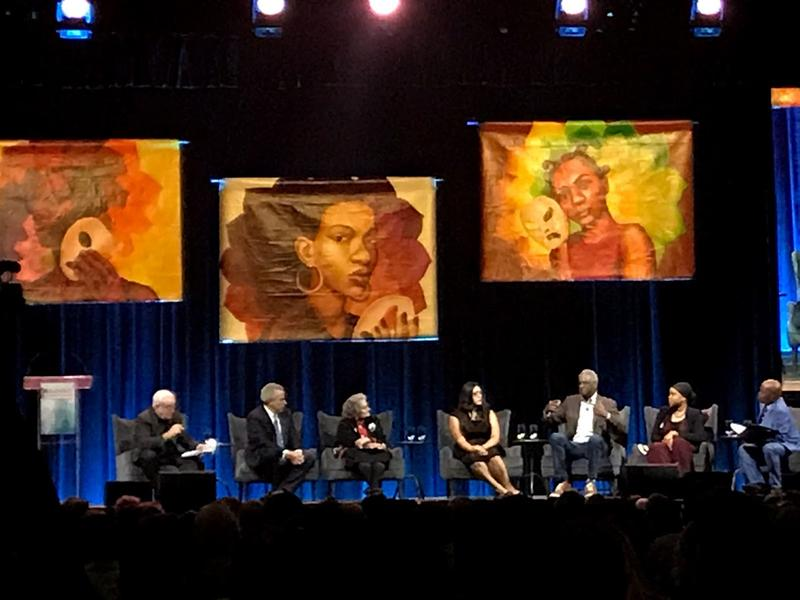 Panelists discuss their perspectives on race and trauma. (Left to right) Rev. Jim Wallis, Dr. Harold Koplewicz, Dr. Fran Kaplan, Alejandra Gonzalez, Dr. Howard Fuller and Sumaiyah Clark