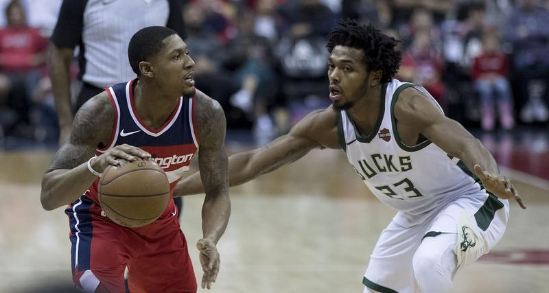 Sterling Brown (right) of the Milwaukee Bucks during a game against the Washington Wizards on Jan. 15, 2018, at Capital One Arena in Washington, D.C.