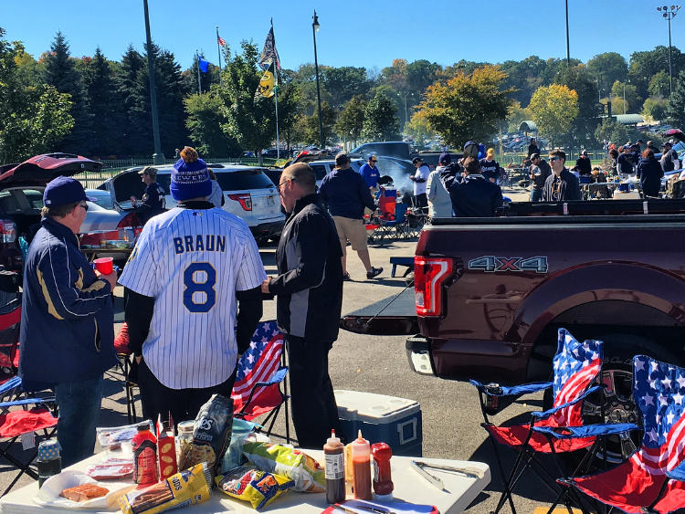 Miller Park's lot was full of diehard Brewers fans ahead of the first playoff game on Thursday, Oct. 4.