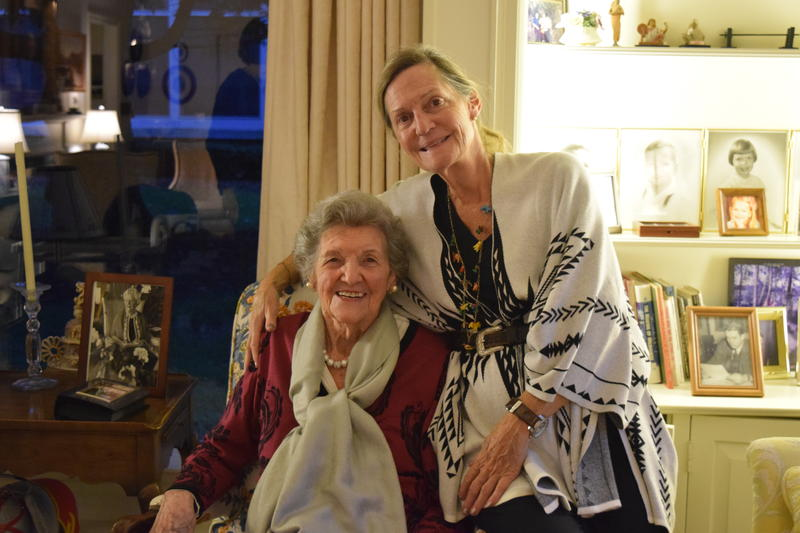 (L to R) Joan Robertson (daughter of suffragette Annette Roberts) with her daughter Annette Roberston in Joan's home.