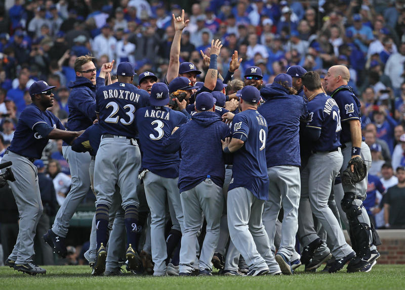 The Milwaukee Brewers celebrate after beating the Chicago Cubs, 3-1, in the National League tiebreaker at Wrigley Field on Oct. 1, 2018 in Chicago.