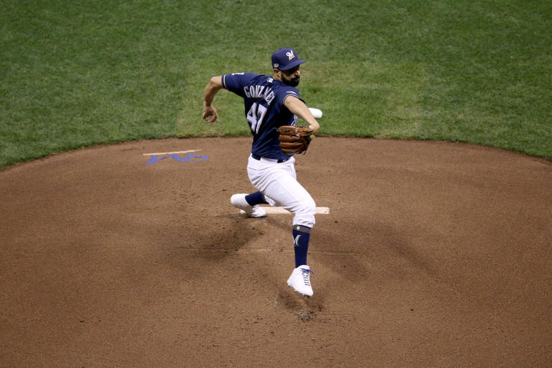 Gio Gonzalez #47 of the Milwaukee Brewers throws a pitch against the Los Angeles Dodgers during the first inning in Game 1 of the National League Championship Series at Miller Park on Oct. 12.