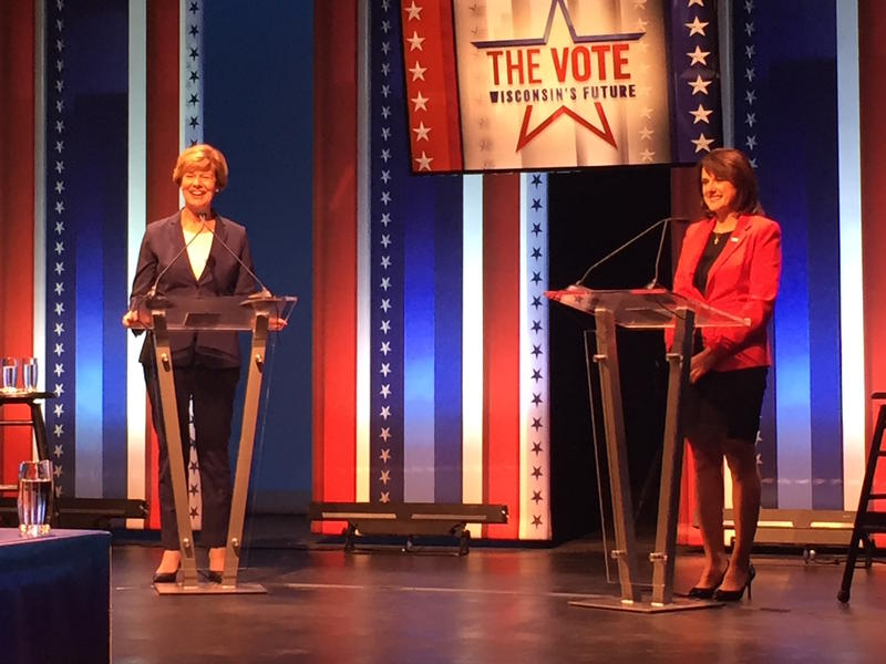 Democratic incumbent Tammy Baldwin (left) and challenger Republican Leah Vukmir during the first Wisconsin U.S. Senate debate ahead of the 2018 midterm elections. Debate topics included health care, immigration, the #MeToo movement and abortion.
