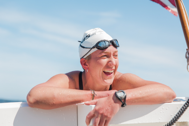 "Kim Chambers and her open water swim from the Golden Gate Bridge to the Farallon Islands is the subject of ""Kim Swims."""