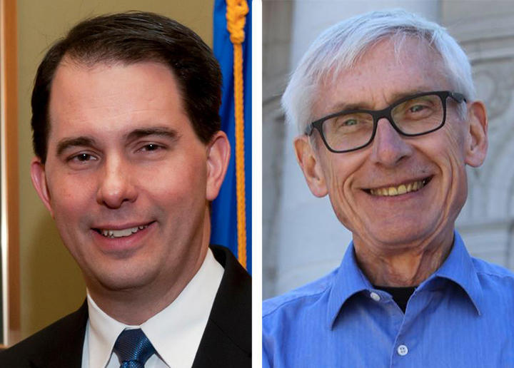 Gov. Scott Walker (left) is running against Democratic challenger Tony Evers (right) in November.