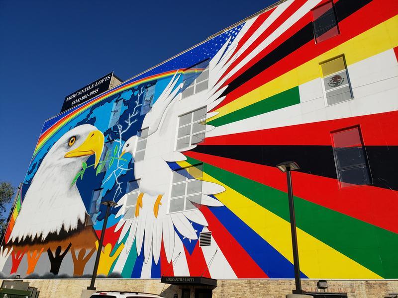 "Reynaldo Hernandez's ""Mural of Peace"" at 611 W. National Ave. in Milwaukee."