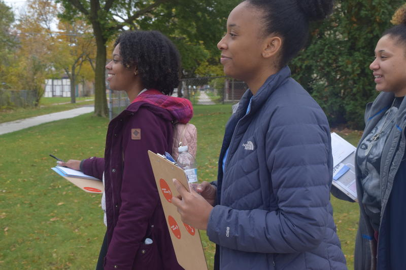 (From Left) Akira Mabon, Joia Wesley and Talina Neal canvass Milwaukee neighborhoods ahead of Wisconsin's midterm elections.