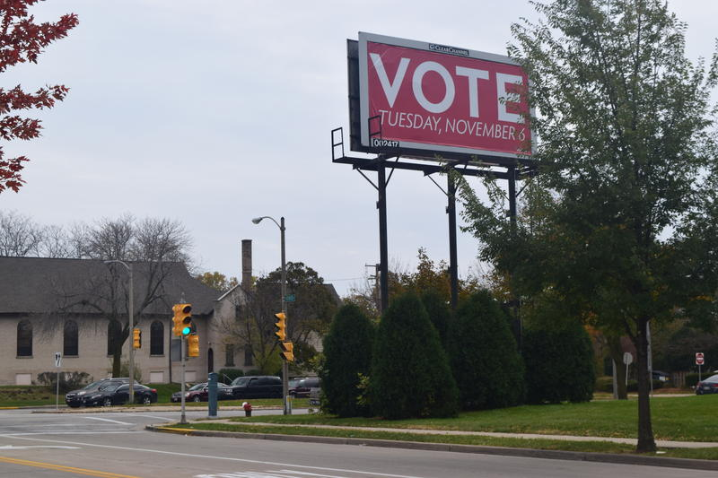 """Vote"" billboard at the intersection of 17th and State streets."