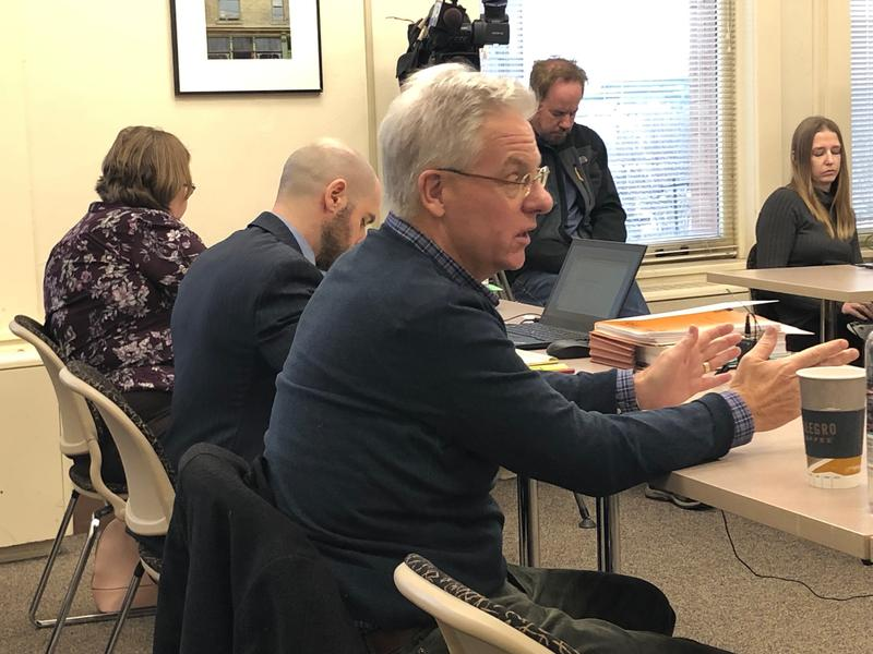 Paul Biedrzyski testified before the Board of City Service Commissioners  on Thursday.