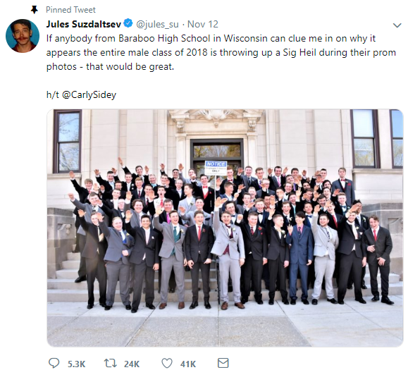 A group of Baraboo High School students appear to be giving a Nazi salute in a junior prom photo.
