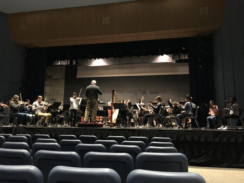 """Nicolet High School students in rehearsal for """"The Little Bird"""" Concerto by Yotam Haber."""
