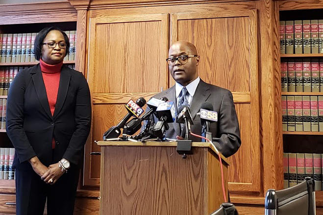 Milwaukee County Sheriff-elect Earnell Lucas at a press conference on Thursday, Nov. 29 at Christopher & De León Law Office in Milwaukee.