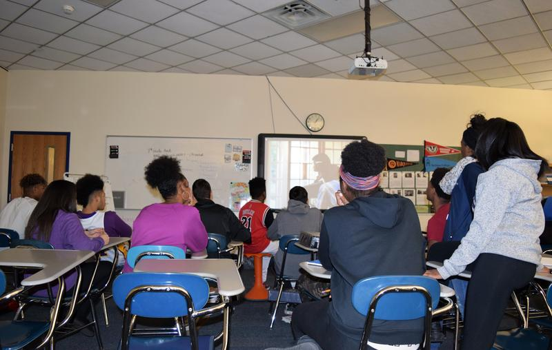 Glendale-River Hills seventh and eighth graders watch a movie about the Little Rock Nine. Glendale-River Hills voters have approved revenue limit referendums that help the school district pay for electives like this one.