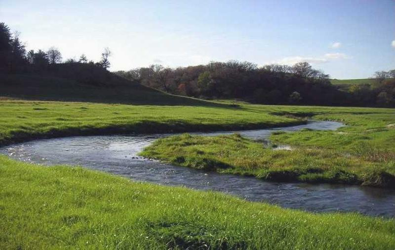 The Blue River in Grant County, Wisconsin. Trout Unlimited worked with local residents including farmers to restore the river.