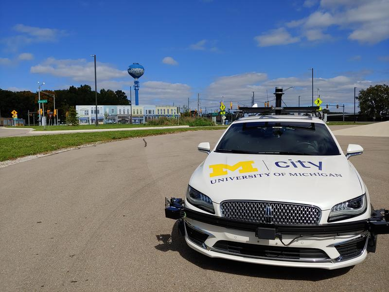 The Lincoln MKZ autonomous vehicle at the Mcity facility in Ann Arbor, Mich.